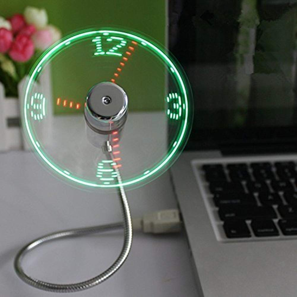 usb led fan with clock